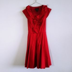 Frank Lynman Red Dress with Cap Sleeves Size 8